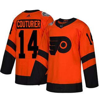 Men's Flyers #14 Sean Couturier Orange  2019 Stadium Series Stitched Hockey Jersey