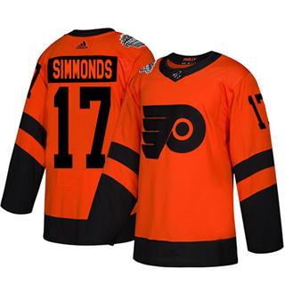 Men's Flyers #17 Wayne Simmonds Orange  2019 Stadium Series Stitched Hockey Jersey