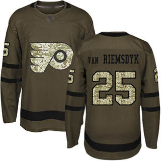 Men's Flyers #25 James Van Riemsdyk Green Salute to Service Stitched Hockey Jersey