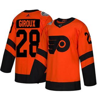 Men's Flyers #28 Claude Giroux Orange  2019 Stadium Series Stitched Hockey Jersey