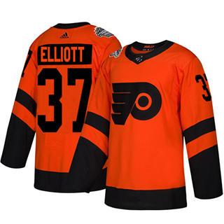 Men's Flyers #37 Brian Elliott Orange  2019 Stadium Series Stitched Hockey Jersey