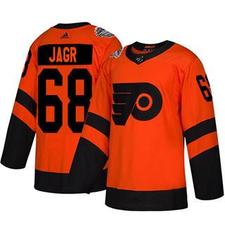 Men's Flyers #68 Jaromir Jagr Orange  2019 Stadium Series Stitched Hockey Jersey