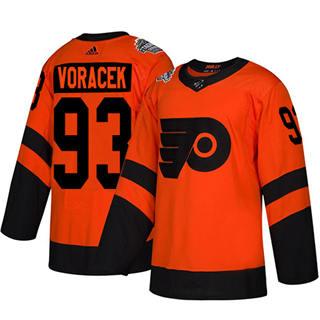 Men's Flyers #93 Jakub Voracek Orange  2019 Stadium Series Stitched Hockey Jersey