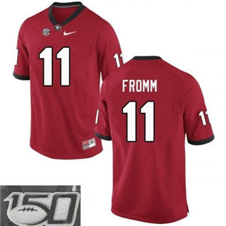 Men's Georgia Bulldogs #11 Jake Fromm Football Jersey Red With 150th Patch