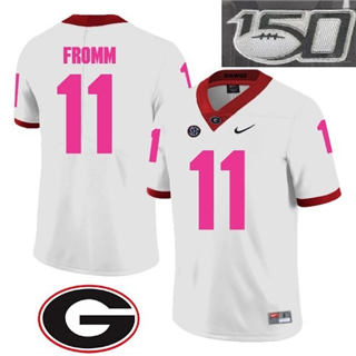 Men's Georgia Bulldogs #11 Jake Fromm Jersey White NCAA 1920 With 150th Patch