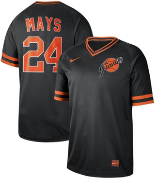 Men's Giants #24 Willie Mays Black  Cooperstown Collection Stitched Baseball jerseys