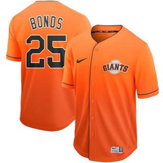 Men's Giants #25 Barry Bonds Orange Fade  Stitched Baseball jerseys
