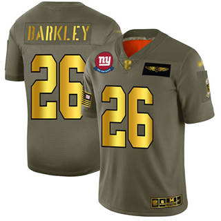 Men's Giants #26 Saquon Barkley Camo Gold Stitched Football Limited 2019 Salute To Service Jersey