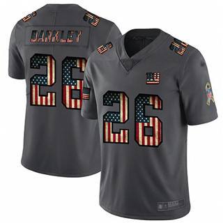 Men's Giants #26 Saquon Barkley Carbon Black Stitched Football Limited Retro Flag Jersey