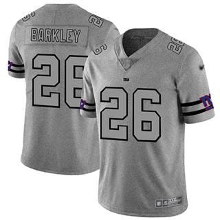 Men's Giants #26 Saquon Barkley Gray Stitched Football Limited Team Logo Gridiron Jersey