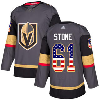 Men's Golden Knights #61 Mark Stone Grey Home  USA Flag Stitched Hockey Jersey