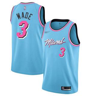 Men's Heat #3 Dwyane Wade Blue Basketball Swingman City Edition 2019-2020 Jersey