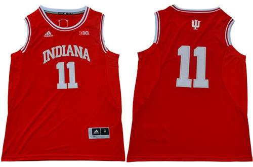 Men's Hoosiers #11 Isiah Thomas Red Big 10 Patch Stitched College Basketball Jersey
