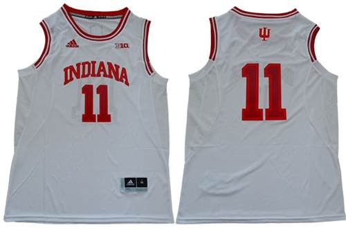 Men's Hoosiers #11 Isiah Thomas White Big 10 Patch Stitched College Basketball Jersey