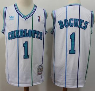 Men's Hornets #1 Muggsy Bogues White Throwback Stitched Basketball Jersey