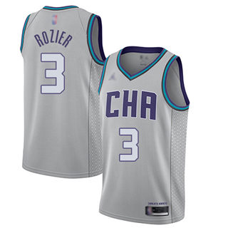 Men's Hornets #3 Terry Rozier Gray Basketball Jordan Swingman City Edition 2019-2020 Jersey