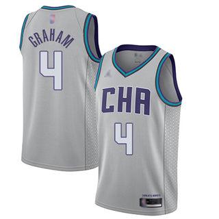 Men's Hornets #4 Devonte Graham Gray Basketball Jordan Swingman City Edition 2019-2020 Jersey