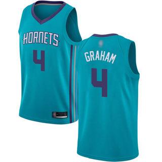 Men's Hornets #4 Devonte Graham Teal Basketball Jordan Swingman Icon Edition Jersey