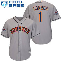 Men's Houston Astros #1 Carlos Correa Grey New Cool Base 2017 World Series Champions Stitched Baseball Jersey