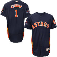 Men's Houston Astros #1 Carlos Correa Navy Blue Flexbase  Collection 2017 World Series Champions Stitched Baseball Jersey