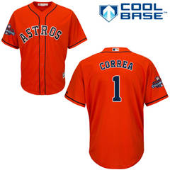 Men's Houston Astros #1 Carlos Correa Orange New Cool Base 2017 World Series Champions Stitched Baseball Jersey