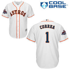 Men's Houston Astros #1 Carlos Correa White New Cool Base 2017 World Series Champions Stitched Baseball Jersey
