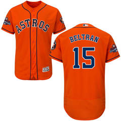 Men's Houston Astros #15 Carlos Beltran Orange Flexbase  Collection 2017 World Series Champions Stitched Baseball Jersey