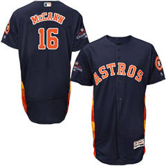 Men's Houston Astros #16 Brian McCann Navy Blue Flexbase  Collection 2017 World Series Champions Stitched Baseball Jersey