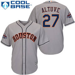 Men's Houston Astros #27 Jose Altuve Grey New Cool Base 2017 World Series Champions Stitched Baseball Jersey