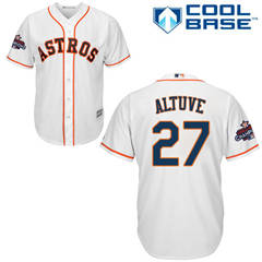 Men's Houston Astros #27 Jose Altuve White New Cool Base 2017 World Series Champions Stitched Baseball Jersey