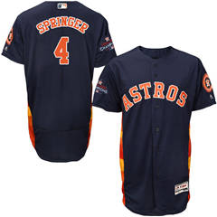 Men's Houston Astros #4 George Springer Navy Blue Flexbase  Collection 2017 World Series Champions Stitched Baseball Jersey