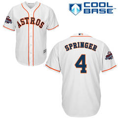 Men's Houston Astros #4 George Springer White New Cool Base 2017 World Series Champions Stitched Baseball Jersey