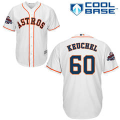 Men's Houston Astros #60 Dallas Keuchel White New Cool Base 2017 World Series Champions Stitched Baseball Jersey