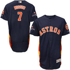 Men's Houston Astros #7 Craig Biggio Navy Blue Flexbase  Collection 2017 World Series Champions Stitched Baseball Jersey