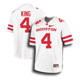 Men's Houston Cougars #4 D'Eriq King Jersey White NCAA 19-20