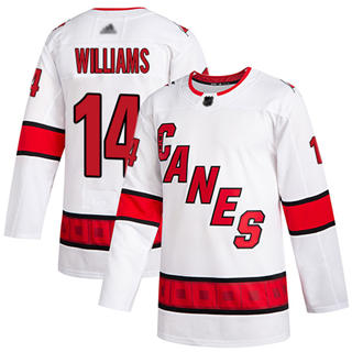 Men's Hurricanes #14 Justin Williams White Road Authentic Stitched Hockey Jersey