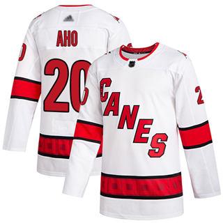 Men's Hurricanes #20 Sebastian Aho White Road Authentic Stitched Hockey Jersey