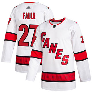Men's Hurricanes #27 Justin Faulk White Road Authentic Stitched Hockey Jersey