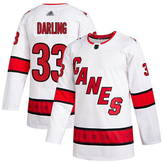 Men's Hurricanes #33 Scott Darling White Road Authentic Stitched Hockey Jersey