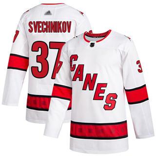 Men's Hurricanes #37 Andrei Svechnikov White Road Authentic Stitched Hockey Jersey
