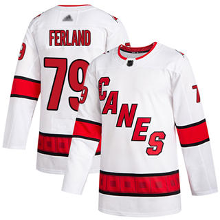 Men's Hurricanes #79 Michael Ferland White Road Authentic Stitched Hockey Jersey