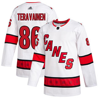 Men's Hurricanes #86 Teuvo Teravainen White Road Authentic Stitched Hockey Jersey