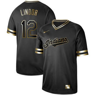 Men's Indians #12 Francisco Lindor Black Gold  Stitched Baseball Jersey