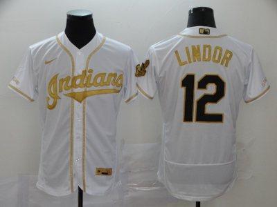 Men's Indians #12 Francisco Lindor White Gold 2020 Baseball Flexbase Jersey