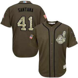 Men's Indians #41 Carlos Santana Green Salute to Service Stitched Baseball Jersey