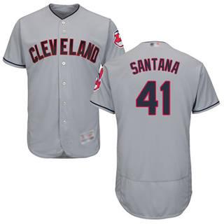 Men's Indians #41 Carlos Santana Grey Flexbase  Collection Stitched Baseball Jersey