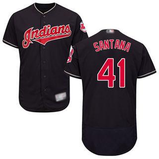 Men's Indians #41 Carlos Santana Navy Blue Flexbase  Collection Stitched Baseball Jersey