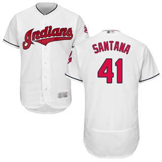 Men's Indians #41 Carlos Santana White Flexbase  Collection Stitched Baseball Jersey