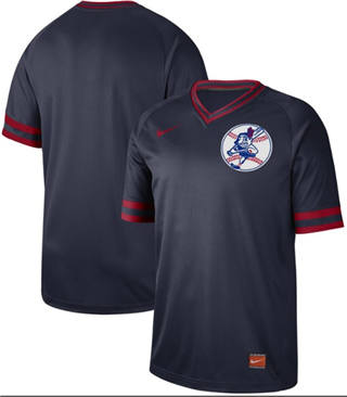 Men's Indians Blank Navy  Cooperstown Collection Stitched Baseball Jersey