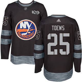 Men's Islanders #25 Devon Toews Black 1917-2017 100th Anniversary Stitched Hockey Jersey